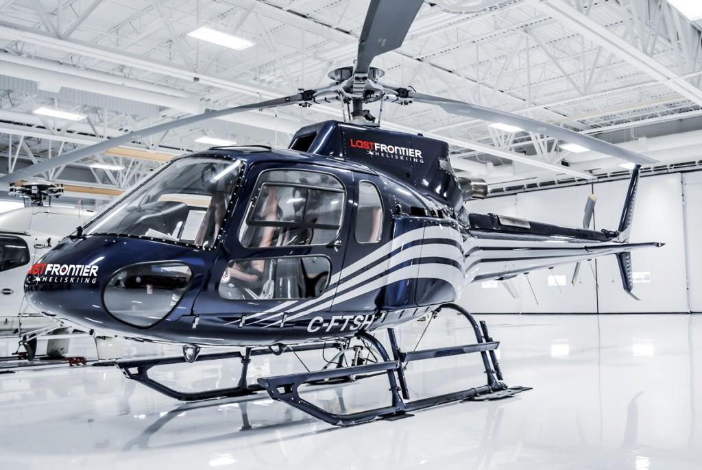 Last Frontier Heliskiing Helicopter In the Hanger