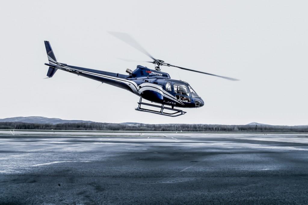 Last Frontier Heliskiing Helicopter in Flight