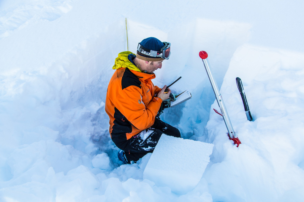 Looking at the snowpack. Photo: Steve Rosset