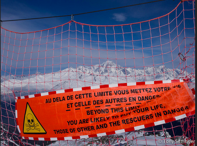 A sign in the Alps explaining exactly what's up. Be prepared and remember that you are not just putting yourself at risk.  Photo - Tony Sittlinger