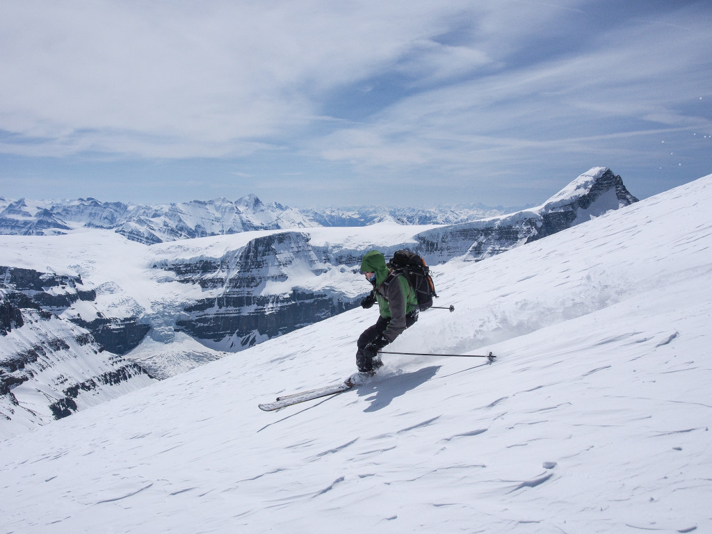 While the snow in the Canadian Rockies isn't always perfect, the views usually are. Skiing on the Columbia Icefields | Liam Harrap