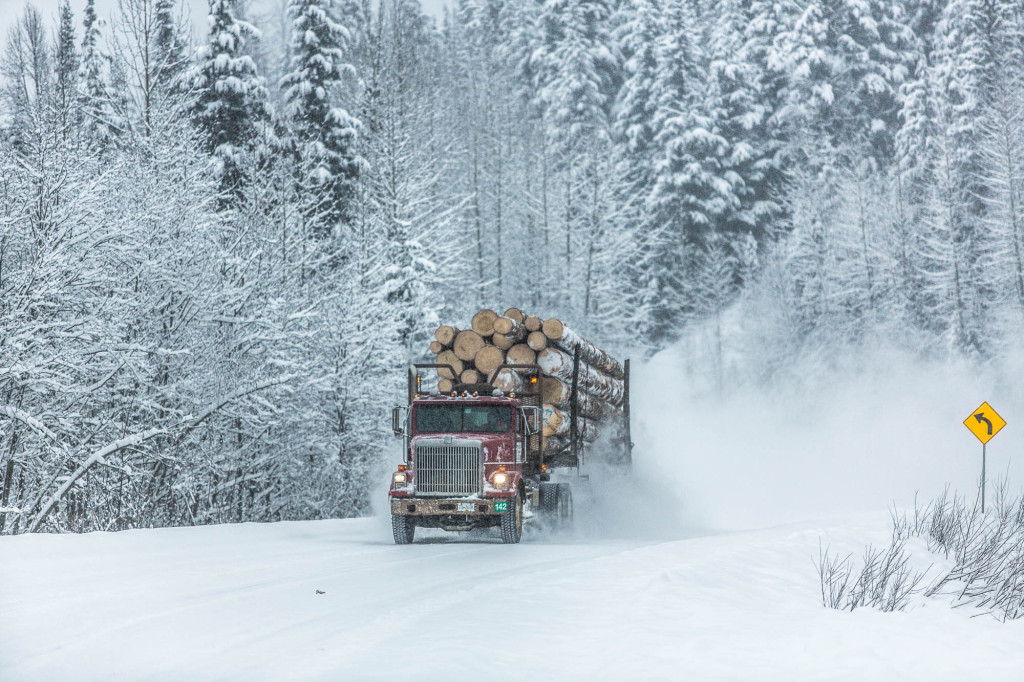 The Stewart - Cassier Highway is the main access road in Northern Western British Columbia. It's shared between loggers, travelers, and heli-skiers alike | Photo - Steve Rosset