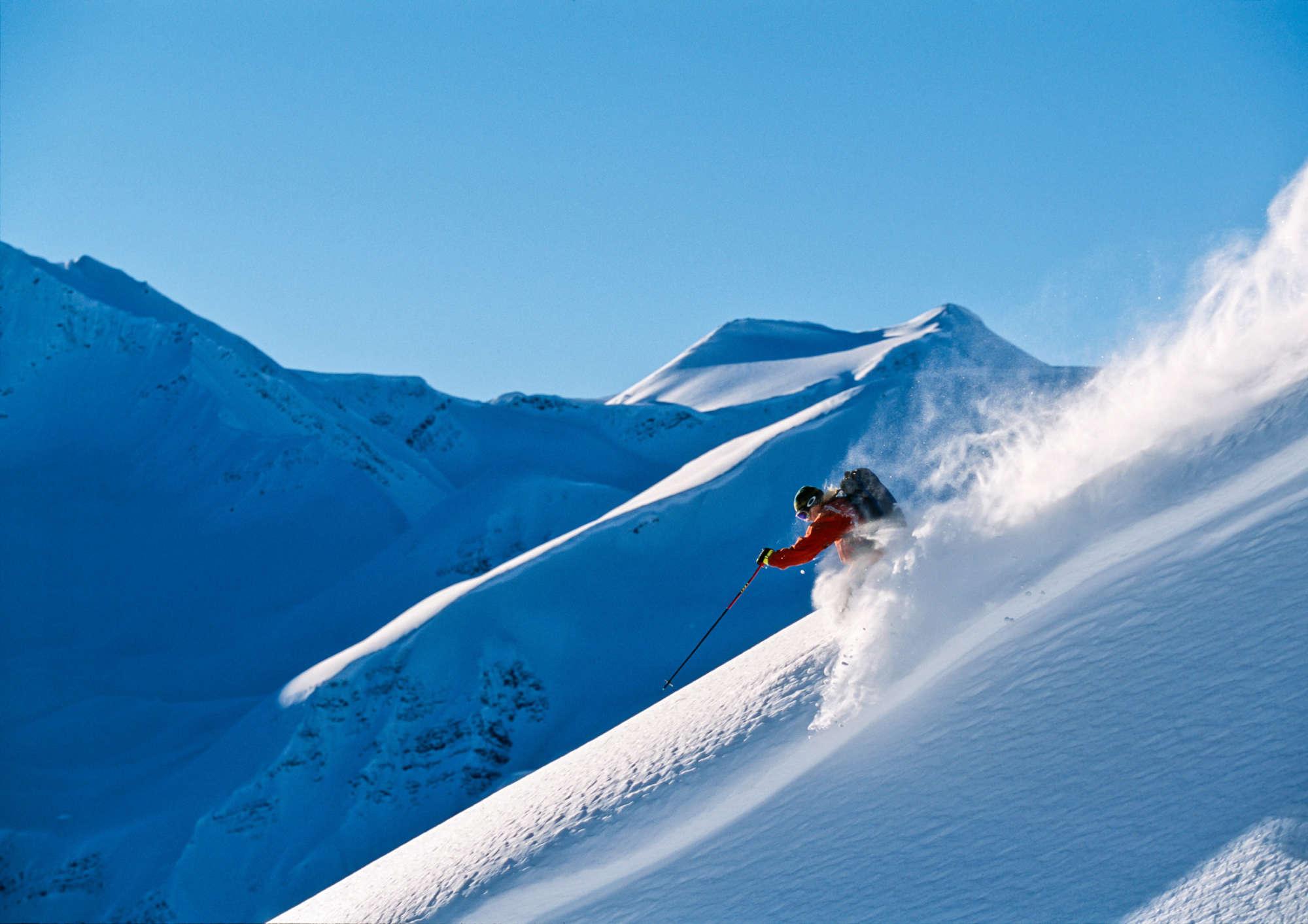 Big alpine heli skiing in Canada.